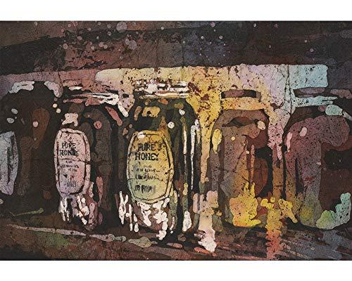 Fine art watercolor batik painting of honey jars at Farmers Market- Raleigh, North Carolina (print)