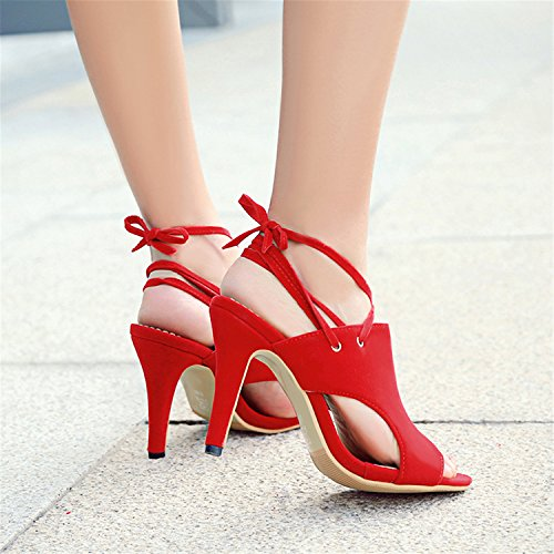 Sexy Odetina Peep Slingback Cut Women's Lace High Toe Heels Red303 Pumps up Sandals prSrx5qn