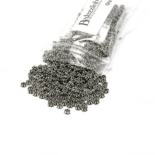 - 300 Small 4mm Flat Flower Rondelle Disc Spacer Beads Plated Pewter Base Metal (Antique Silver)