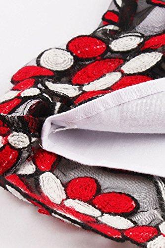 Axoe Damen Elegante 50er Jahre Kleider mit Blumenstickerei Tüll Festliche Abendkleider für Hochzeit Knielang Schwarz/Rot N90crqs