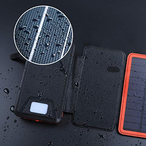 soyond Solar Qi Power Bank Solar Wireless Phone Charger Protable Qi Battery Pack 20000mAh Waterproof with Dual Ports for iPhone, Andriod Phone, iPad(Orange Wireless Charger) by soyond (Image #2)