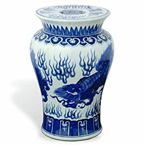 Beautiful Port 68 Chow Garden Stool, Blue, 21 Inch Tall