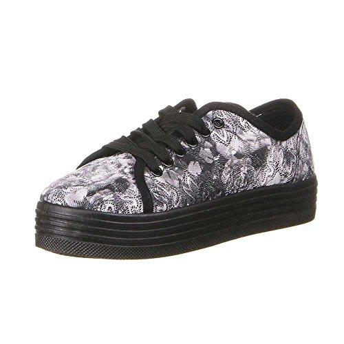 M&Co m Women's Low-Top Sneakers Black Flower ahnqUv2ImP