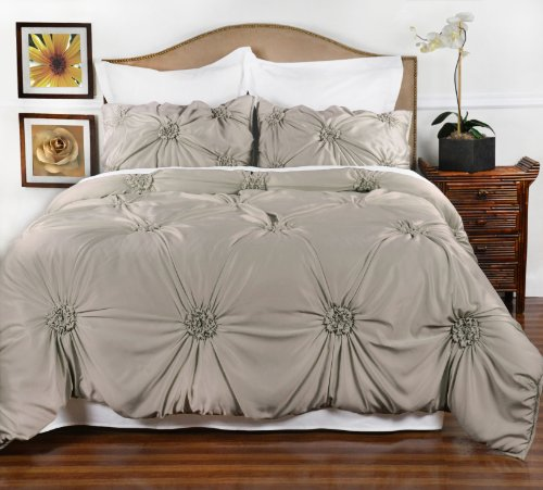 Empress Silk Fiona Comforter Set – Queen – Taupe