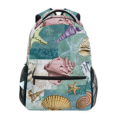 - MAHU Backpack Ocean Animal Starfish Seashell Coral Adults School Bag Casual College Bag Travel Zipper Bookbag Hiking Shoulder Daypack for Women Men