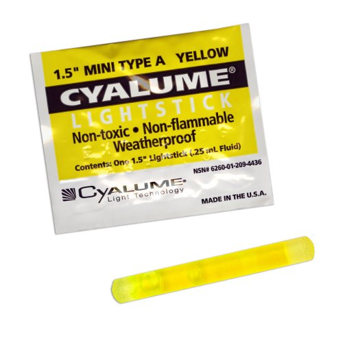"Cyalume Mini ChemLight Military Grade Chemical Light Sticks – 4 Hour Duration Light Sticks Provide Intense Light, Ideal as Emergency or Safety Lights, for Tactical Applications, Trail Marking, Map Reading and Much More, Standard Issue for U.S. Military Personnel – Yellow, 1.5"" Long (Pack of 50) (Lightsticks Mini)"