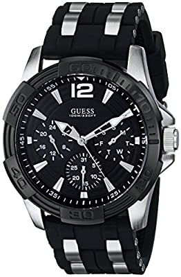 GUESS Men's U0366G1 Sporty Silver-Tone Stainless Steel Watch with Multi-function Dial and Black Strap Buckle