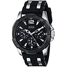 GUESS Men's U0366G1 Black Multi-Function Sporty Watch with Silver Interlinks