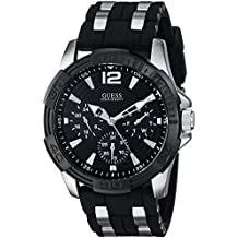 GUESS Men's Stainless Steel Casual Silicone Watch, Color: Silver-Tone/Black (Model: U0366G1)