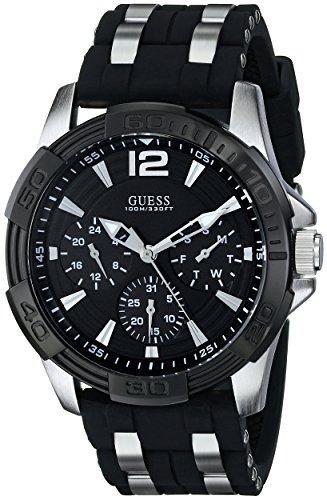 GUESS Men's U0366G1 Sporty Silver-Tone Stainless Steel Watch with Multi-function Dial and Black Strap Buckle (Guess Steel Watch)