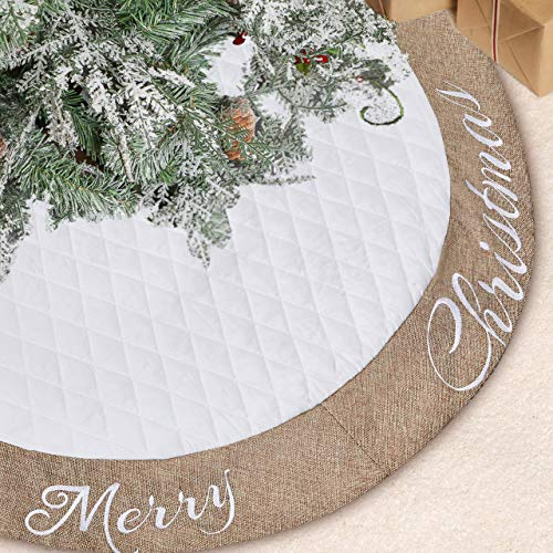 Lalent Christmas Tree Skirt - 48 inches Large White Quilted Thick Luxury Tree Skirt, Tree Holiday Decorations for Christmas Decorations Xmas Ornaments (White) (Knit Christmas Tree Skirt Pattern)
