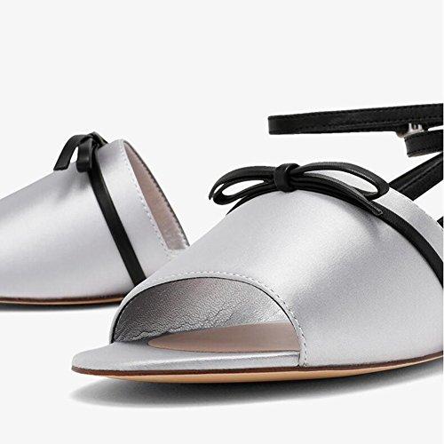 Bajo Zapatos Talón De Casuales De Bajo De Palabra Zapatos Fiesta Abierta Temporada Hebilla WYYY Sandalias Zapatos Tacón Verano Punta Cinturón Planas Sandalias De Playa Bloque Fino De Mujer xC08Hq