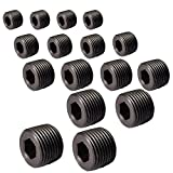 Metalwork Black Alloy Steel Hex Head Socket Pipe Plug Assortment Kits, 16 Pcs, 1/8''+1/4''+3/8''+1/2''+3/4''