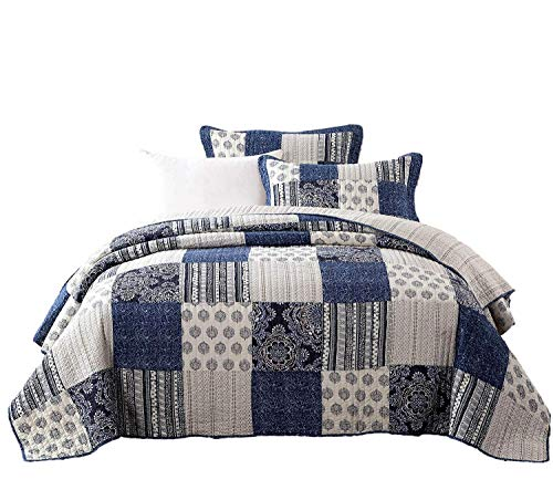 DaDa Bedding Patchwork Bedspread Set - Denim Blue Elegance 100% Cotton Quilted - Bright Vibrant Multi Colorful Navy Floral - King - 3-Pieces ()
