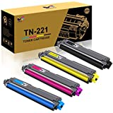 TN221 Toner Cartridges 4-Pack Replacement for Brother TN221 TN225 Work with Brother MFC-9130CW HL-3170CDW