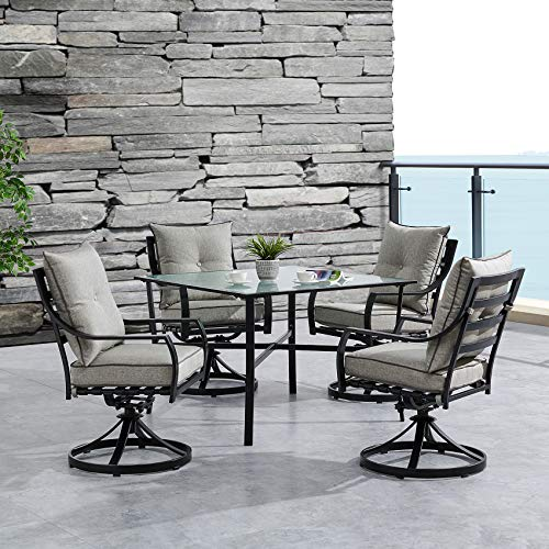 Hanover LAVDN5PCSW-SLV Lavallette 5-Piece Silver Linings with 4 Swivel Rockers and a 42-in. Square Glass-Top Table Outdoor Dining - 42 Square Glass Inch Top