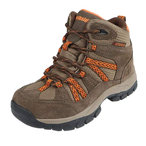 Girls Shoes Hiking - Northside Kid's Freemont Waterproof Hiking Boot, Bark/Orange, 12 M US Little Kid