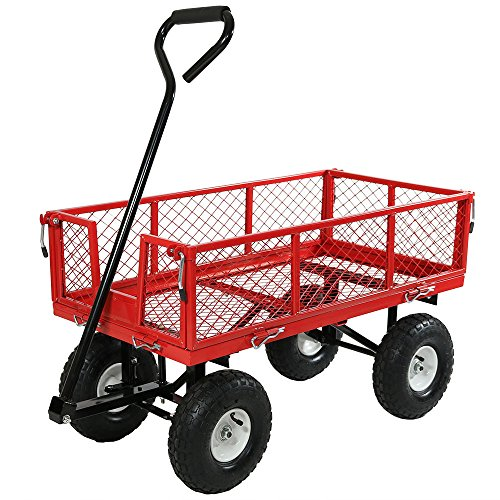 (Sunnydaze Utility Steel Garden Cart, Outdoor Lawn Wagon with Removable Sides, Heavy-Duty 400 Pound Capacity, Red)