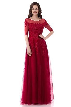 91bc64621e Annadress Bridesmaid Dresses Wedding Dress Net Applique A-Line Homecoming  Dresses Long Prom Dresses 2018 For Women at Amazon Women s Clothing store