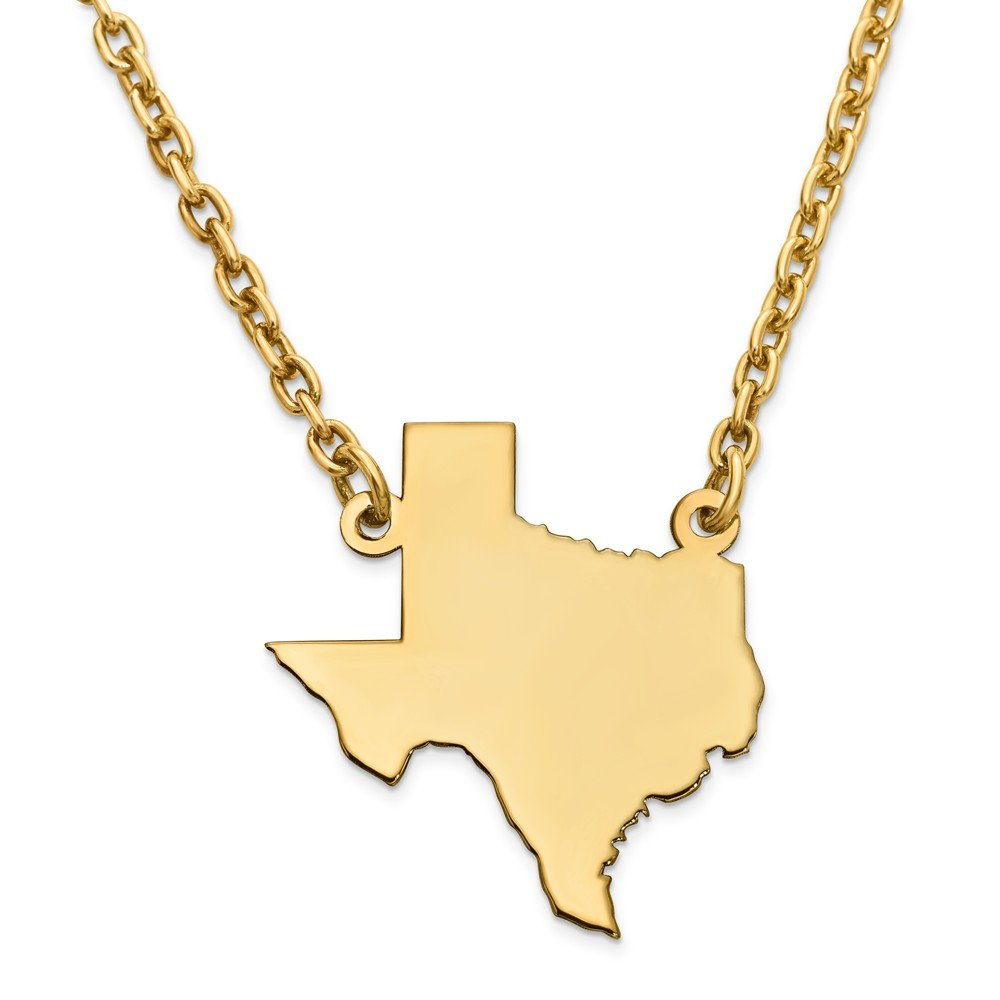 Jewelry Adviser Chain Necklaces GP TX State Pendant with chain