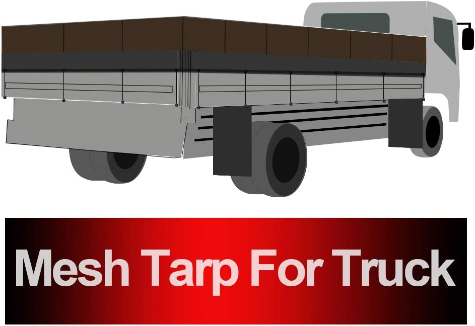 Tentproinc Truck Mesh Tarp 7 X 20 No Rust Thicker Brass Grommets 3 Years Limited Warranty Black Heavy Duty Cover Reinforced Double Needle Stitch Webbing Ripping and Tearing Stop