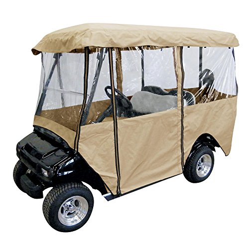 Ez Go Golf Cart Enclosures - Leader Accessories Golf Cart Storage Cover Deluxe Driving Enclosure Fit EZ Go, Club Car, Yamaha Cart - Beige W Zipper (4-Person)