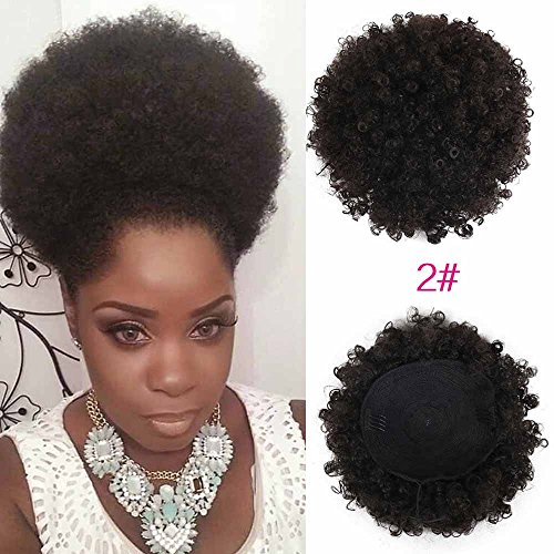 High Puff Afro Ponytail Drawstring Short Afro Kinky Curly Pony Tail Clip in on Synthetic Curly Hair Bun Made of Kanekalon Fiber Puff Ponytail Wrap Updo Hair Extensions with Clips Dark Brown #2