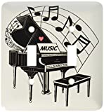3dRose lsp_44809_2 Black Piano with Dancing Notes N Love Music on It Double Toggle Switch