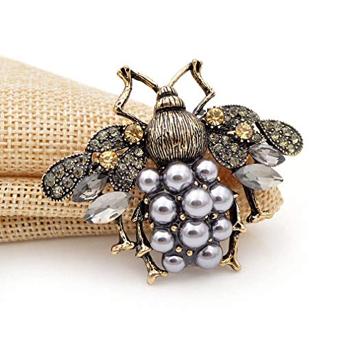 Jana Winkle 3 Colors Choose Pearl Rhinestone Big Bee Brooches Women Insect Pin Gift Coffee by Jana Winkle (Image #6)'
