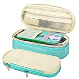 MoKo Large Capacity Pencil Pen Case, Big Capacity Storage Bag Pouch Holder Box, Stationery Organizer with Zippers for Office/School - Beige & Mint Green