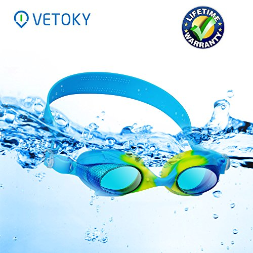 Kids Swim Goggles—Vetoky Swimming Goggles for Kids No Leaking Anti-Fog UV Protection Clear Vision Comfortable Swimming Goggles for Girls Boys Toddler Youth Junior Children Kids(Age 3-10 years old)
