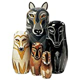 "Bits and Pieces - ""Wolf Pack"" - Matryoshka Dolls - Wooden Russian Nesting Dolls - Wolf - Animal Figurines - Stacking Doll Set of 5"