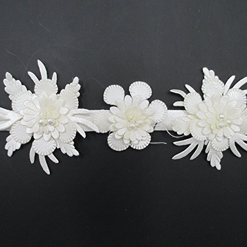 2 Inches Wide Faux Pearls Beaded Leather Floral Lace Trim Fo