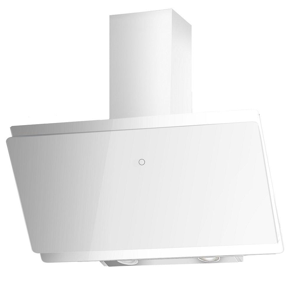 Qualität Kopffreie Dunstabzugshaube * EEK A+ * / Schräg Haube / Diagonal  Wandhaube VLANO MIRA 900 WH / 90 Cm / Weiß Glas Design / Touch Control /  ECO LED ...