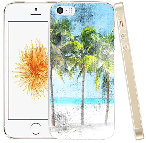 Iphone SE Case Beach,Iphone 5S Case Coconut Palm Tree, Hungo Apple Iphone 5 5S SE Soft Tpu Silicone Protective Cover Beach Retro (Iphone 5s Palm Tree Case)