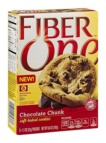 - General Mills, Fiber One, Soft Baked Cookies, Chocolate Chunk, 6.6oz Box (Pack of 4)