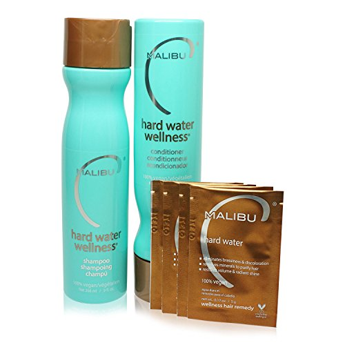 Malibu Hard Water Wellness Treatment Kit, 9 oz Shampoo, 9 oz Conditioner and 0.17 Hard Water Treatment, Package May Vary