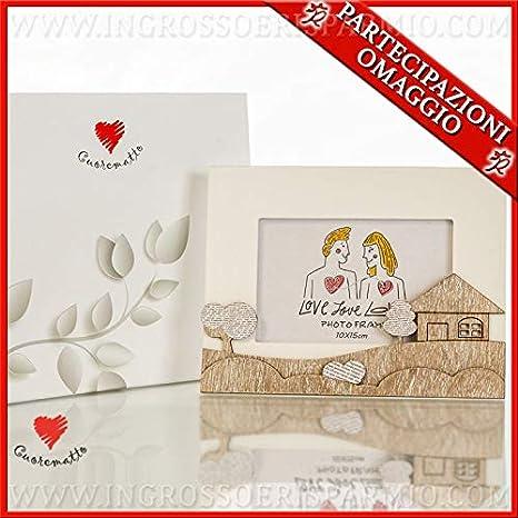806050861b5e Cuorematto - Cornice portafoto rettangolare in legno naturale e bianco con  paesaggio stilizzato