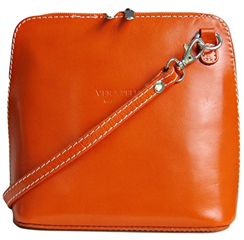 Vera pour Sac par Pelle en cuir véritable à bandoulière italien Orange femme wqHCzq