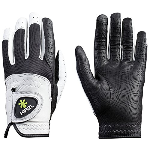 Hirzl Trust Control 2.0 Golf Gloves Mens Right Hand Glove(Left Handed Golfer) Size Large Kangaroo Leather Best Grip Longest Lasting - White / Black