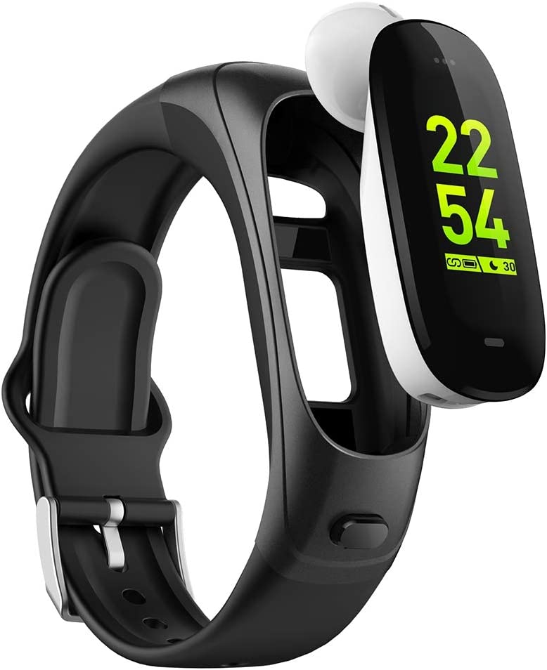 【2021 Version】 Smart Band Smartwatch with Upgraded Bluetooth 5.0 Wireless Earbuds/Fitness Activity Tracker/Heart Rate Sleep Monitor Pedometer Step Calories Counter Exercise Watch for Men Women