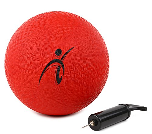 Playground Ball with Pump by Fitness Factor | 10 Inch | Perfect for Kids and Adults and Indoor and Outdoor Games, Including Four Square, Dodgeball, Handball, and Kickball