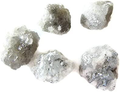 Amazon Com 5 Pieces White Grey Raw Diamonds Rough Diamonds Uncut Diamonds Loose Diamonds 5mm Approx Sku Dd63 Shikha Jewelry