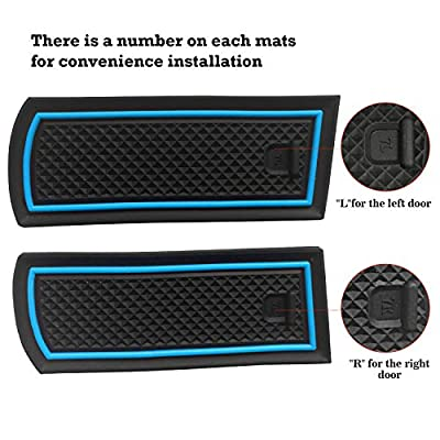 Auovo Anti-Dust Door Mat for 2014-2020 Chevrolet Silverado 1500 LT Interior Accessories Custom Fit Cup Center Console Liners Inserts Pack of 24 (Bench Seats Double Cab,Blue Trim): Automotive