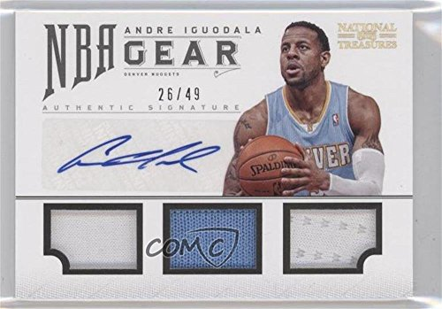 Andre Iguodala #26/49 (Basketball Card) 2012-13 Panini National Treasures - NBA Gear Combos - Triple Autograph [Autographed] #11 -