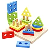 F_Gotal Wooden Puzzles for Kids Age 18-24 Months Preschool Wooden 3D IQ Puzzle Educational Toys for Toddlers Boys Girls Baby Gifts