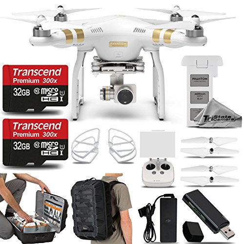 DJI Phantom 3 Professional Quadcopter with 4K Camera and 3-Axis Gimbal. Saving Kit Includes: 2x 32GB Class 10 Memory Card + DJI Propeller Guard + Lowepro DroneGuard CS 400 + High Speed Card Reader -  CP. PT.000181