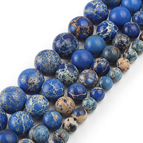 Yochus 10mm Blue Sea Sediment Round Loose Beads Natural Stone Beads for Jewelry Making