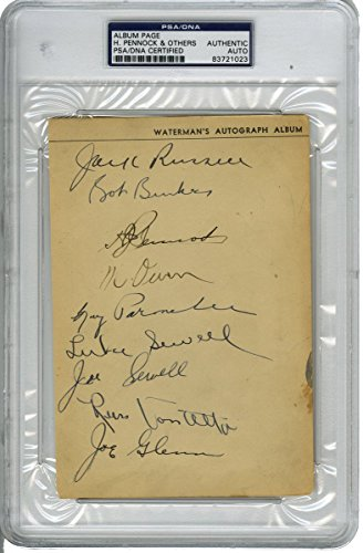 Herb Pennock/Goose Goslin/Luke Sewell/Joe Sewell Signed Album Page with 15 other Signatures (PSA/DNA) ()