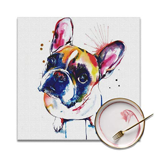 Because Placemats,French Bulldog Pit Bull Boston Terrier Heat-Resistant Washable Cotton Placemats,Polyester Dining Table Mats for Kitchen,Set of 6 Boston Terrier Pit Bull
